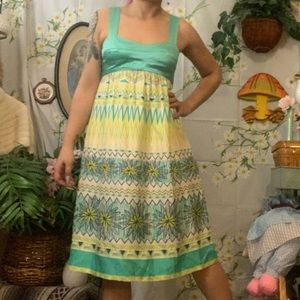 Donna Morgan teal green chevron silk midi dress